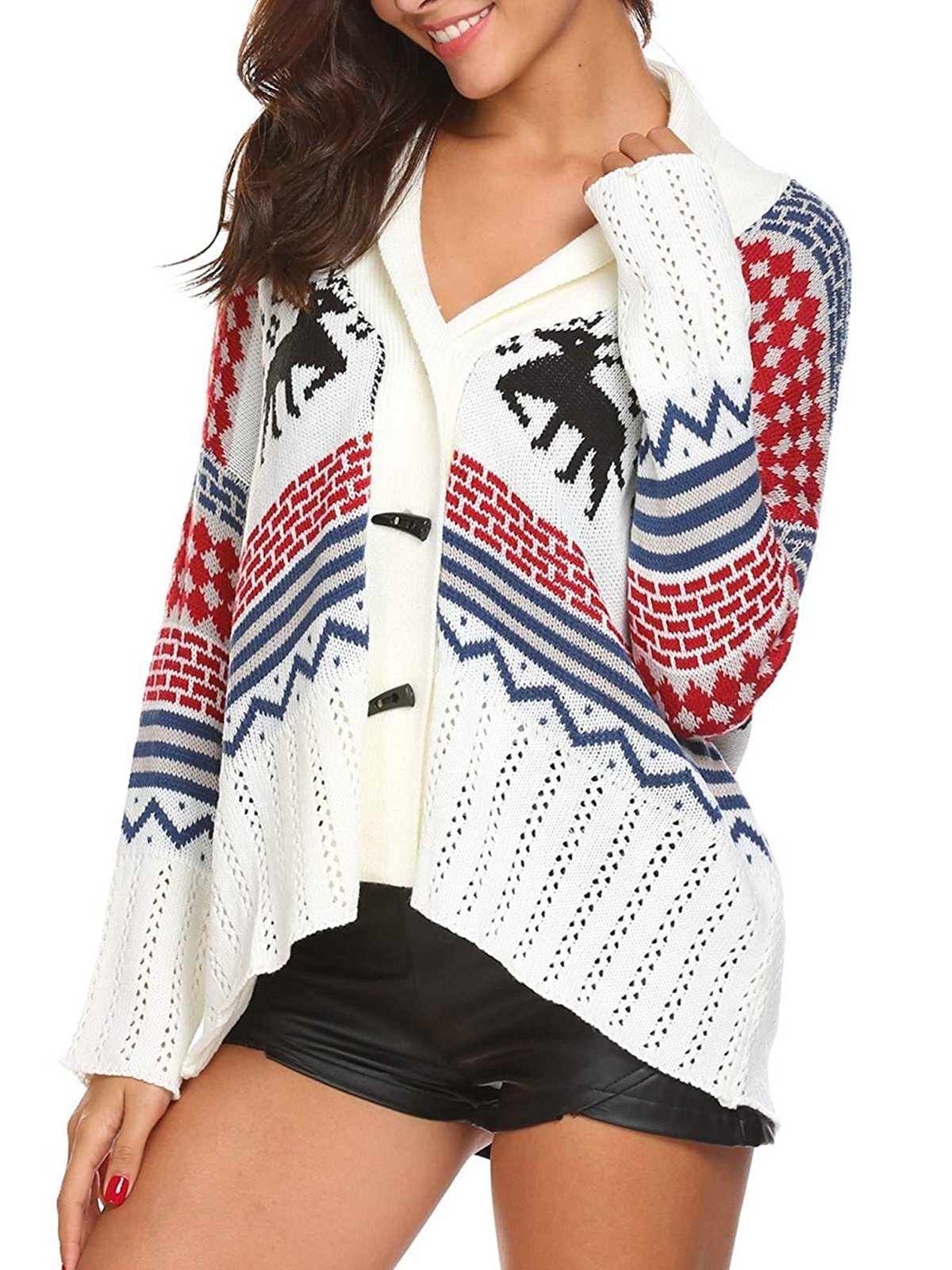 Horn-Buttoned Christmas Knit Wear Xmas Cardigans