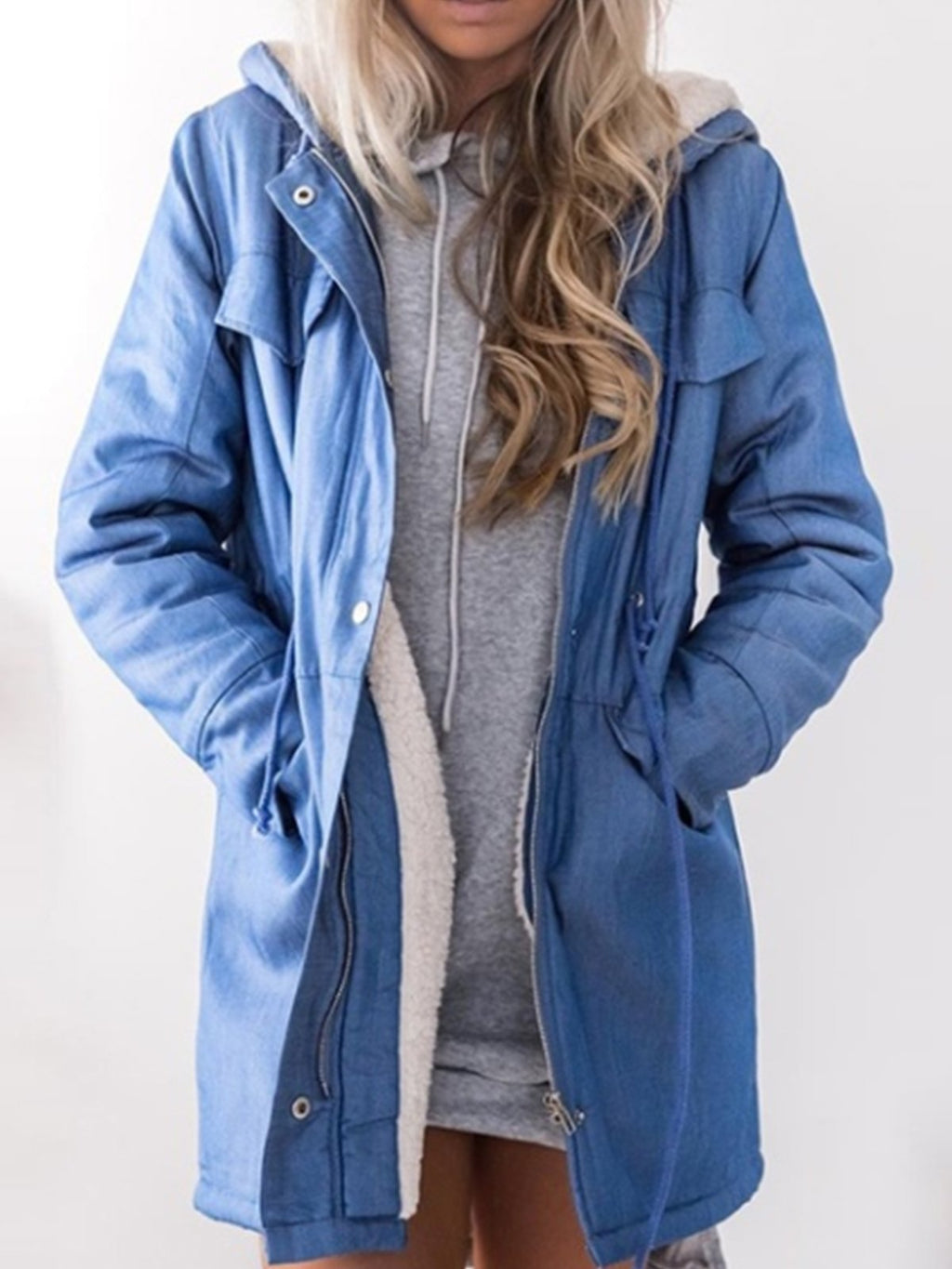 Hoodie Long Sleeve Casual Patchwork Zipper Coat