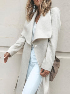 Wool Lapel Casual Buttoned Outerwear With Belt
