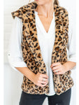 Casual Leopard Print Hooded Vest