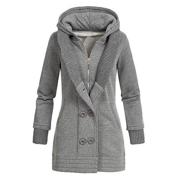 Solid Hooded Patchwork Coat