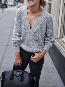 Patchwork Casual V-Neck Sweater