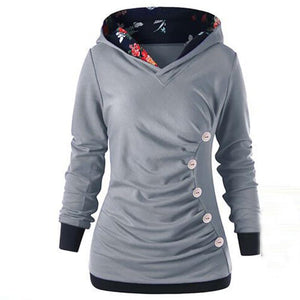 Patchwork Long Sleeve Buttoned Hoodie