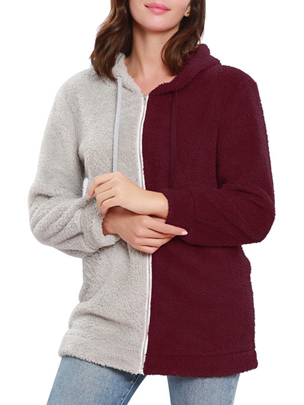 Casual Patchwork Hooded Long Sleeve Coat