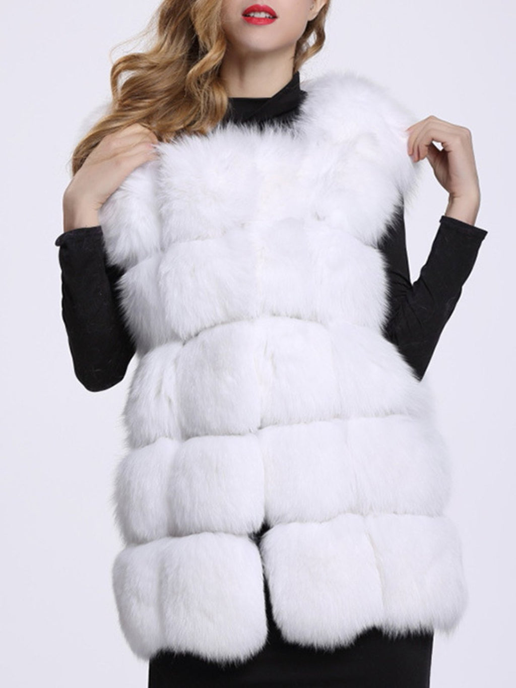 Sleeveless Round Neck Elegant Faux Fur Vest