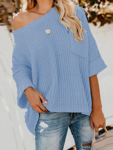 3/4 Sleeve Solid Casual Off Shoulder Sweater