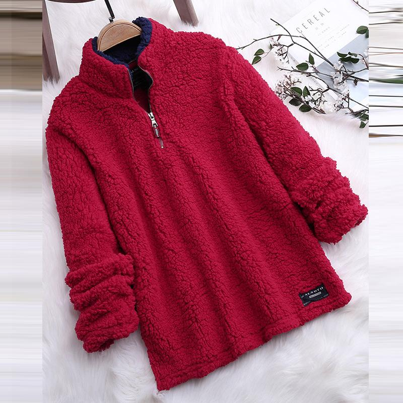 Plus Size Casual Long Sleeve Furry Hoodie