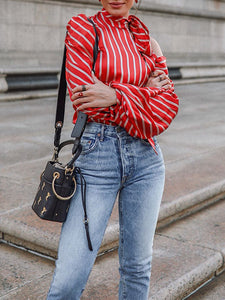 Red Halter Striped Balloon Sleeve Shirt