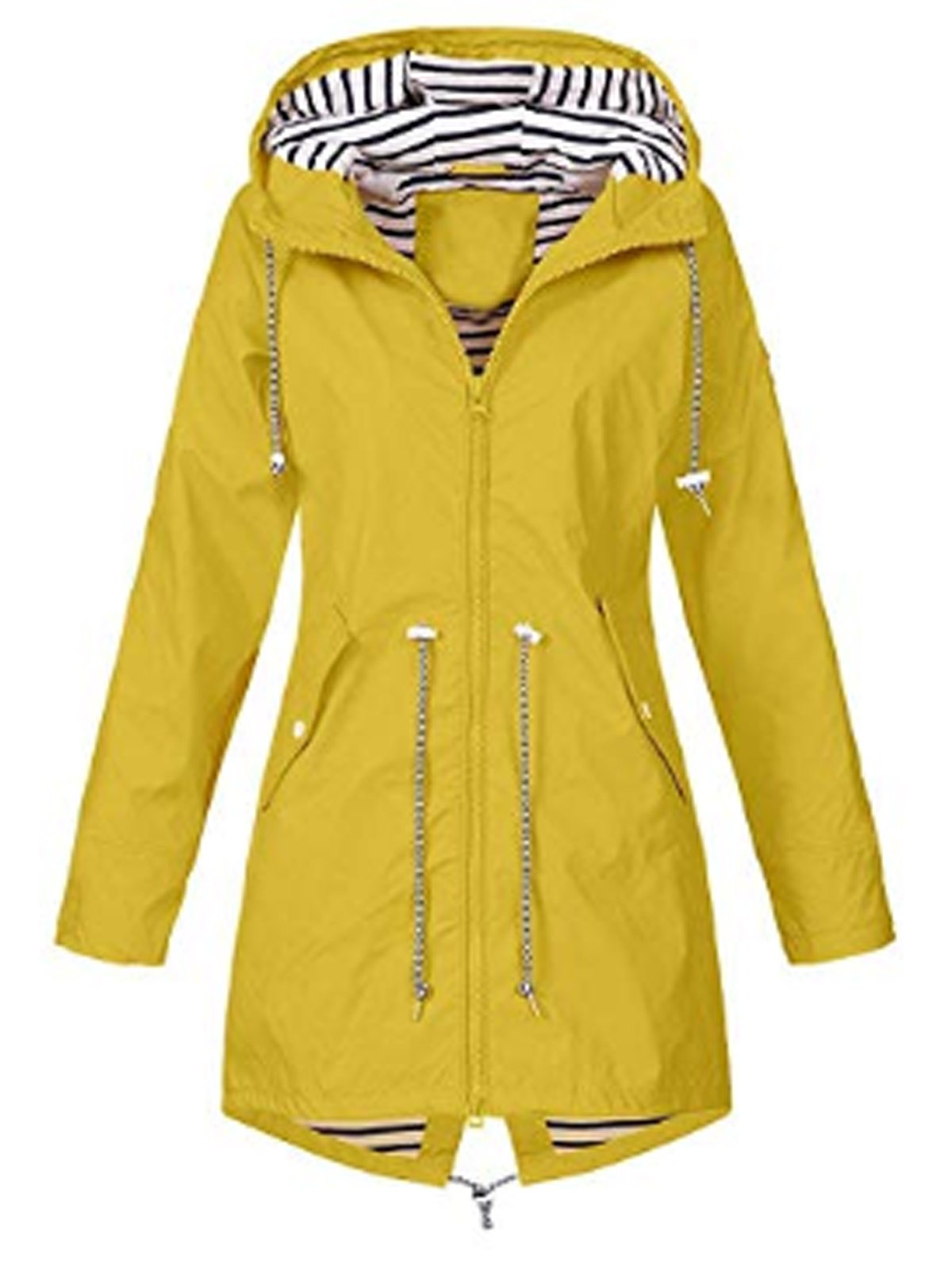 Long Sleeve Drawstring Hooded Windproof Trench Coat