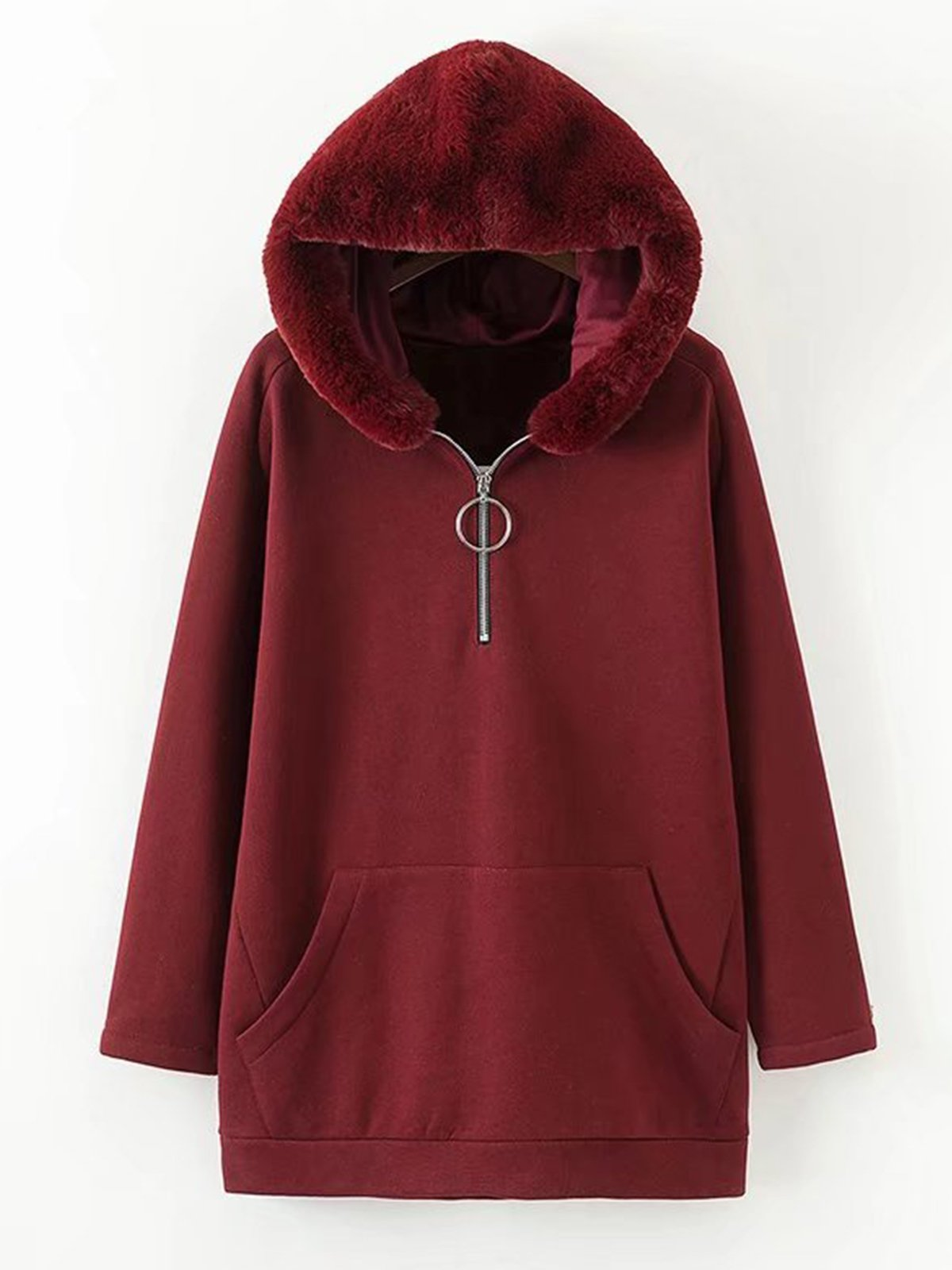 Plus Size Wine Red Shift Casual Warm Hooded Coat