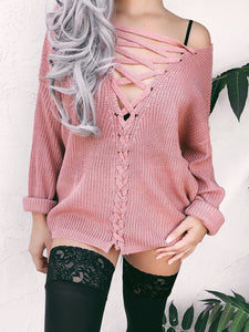 V Neck Casual Lace Up Sweater