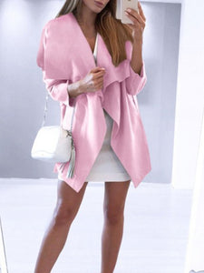 Asymmetric Lapel Casual Solid Coat With Belt
