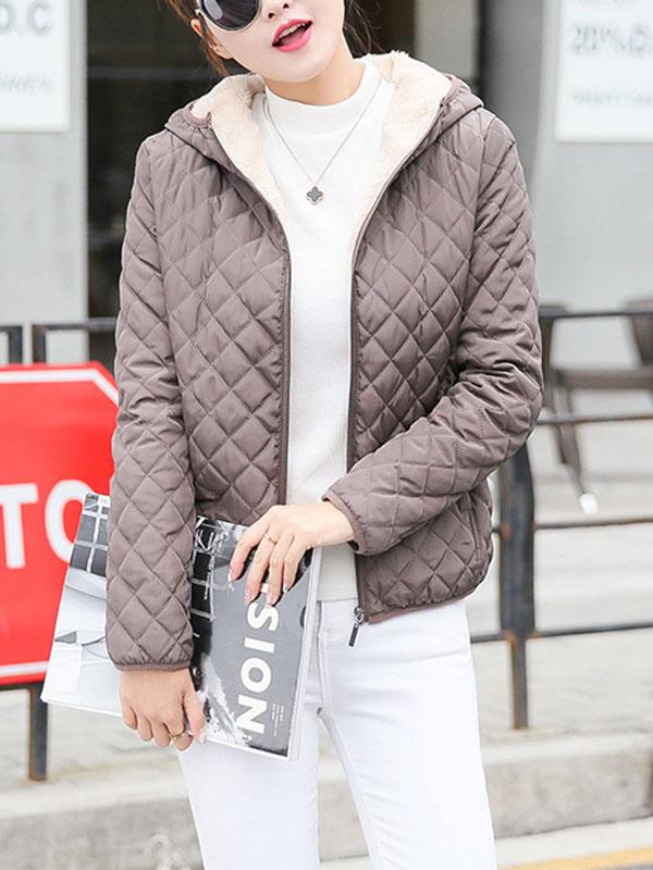 Cotton Fleece Warm Hooded Jacket Coat