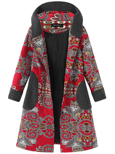 Women Ethnic Printed Thicken Hooded Buttons Coats