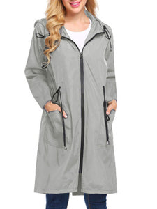 Waterproof Long Solid Women Trench Coat