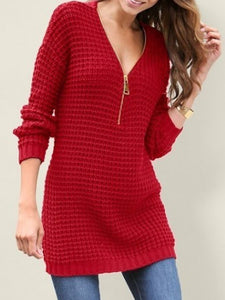Zipper Solid Women Knitted Pullover Sweater
