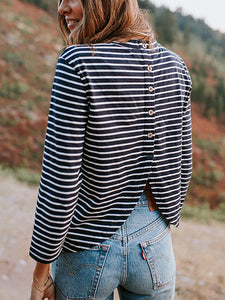 Round Neck Striped Casual T-Shirt