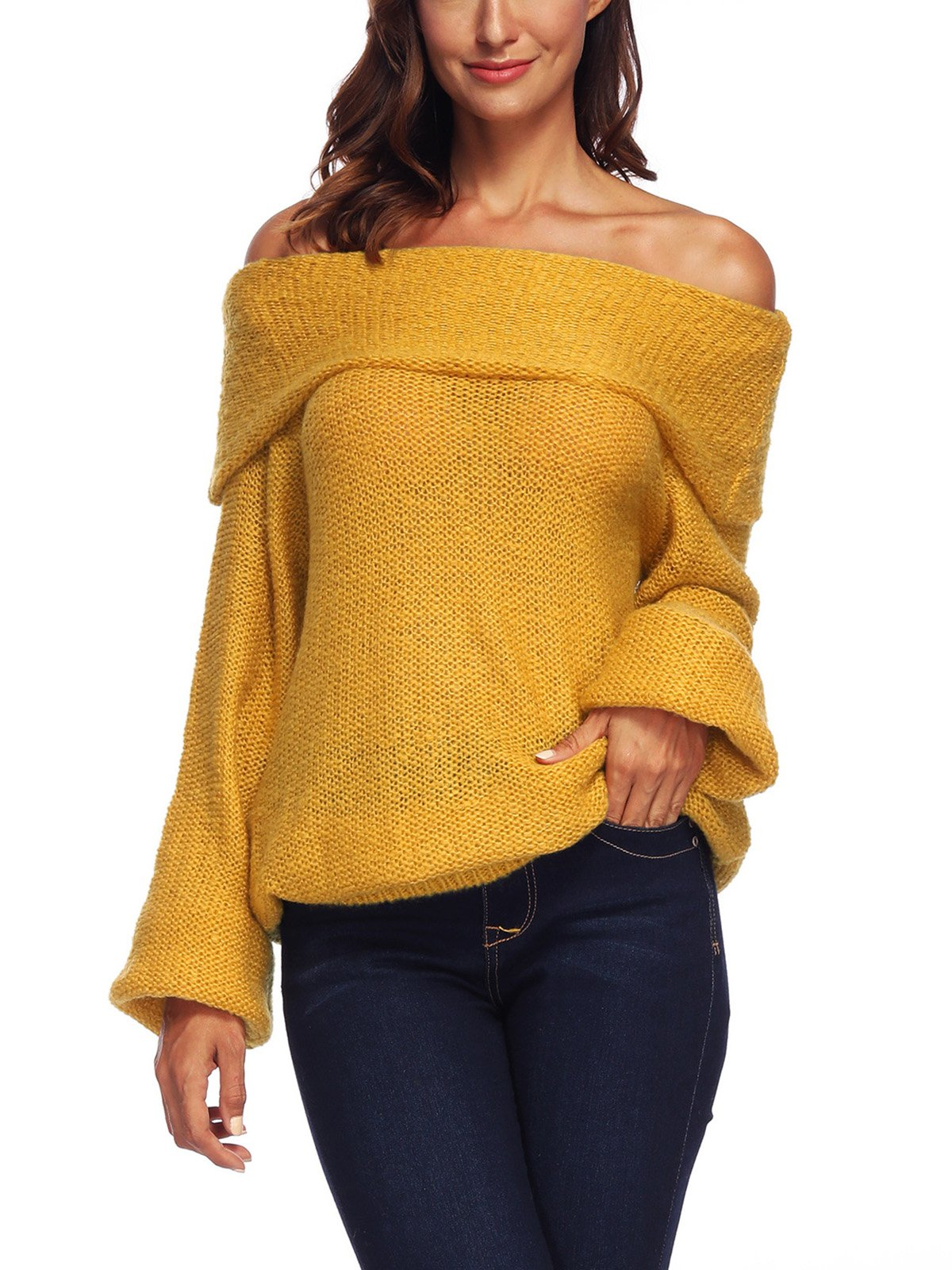 Off Shoulder Casual Plain  Sweater
