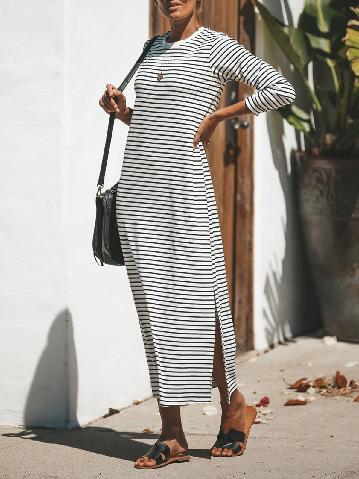 Round Neck  Striped Casual  Maxi Dress