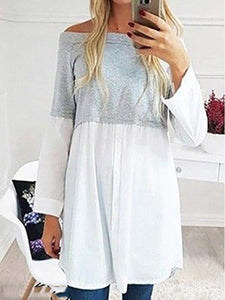Off-Shoulder Casual Long-Sleeved Colorblock T-Shirt