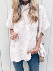 Short Sleeve Turtle Neck Casual Sweaters