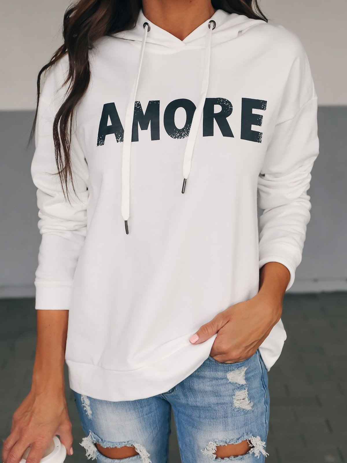 Solid Letter Printed Hooded Casual Hoodies