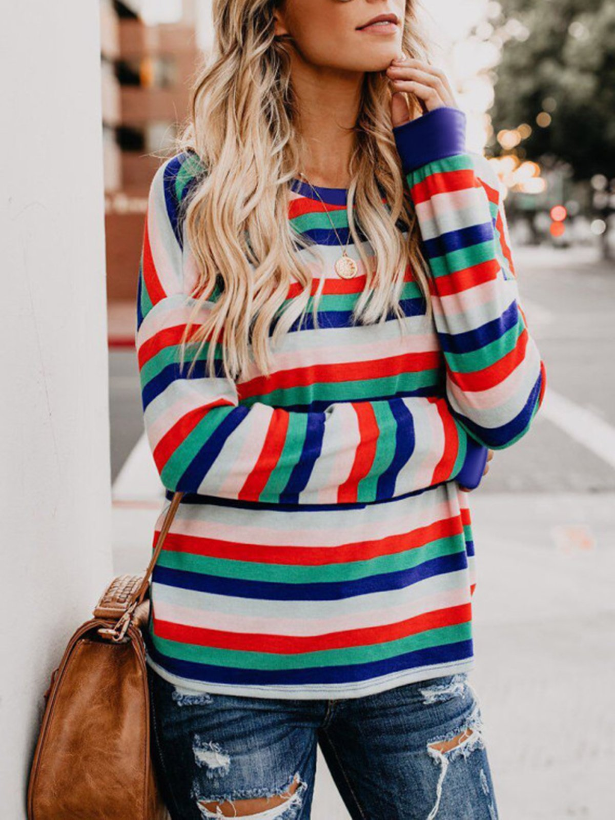Round Neck Color Block Striped T-Shirts