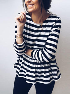 Round Neck Stripes Long Sleeve Ruffles Casual T-Shirts