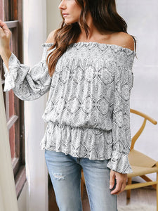 Off Shoulder Floral Printed Casual Blouse