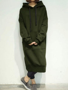 Fleece Long Pattern Basic Solid Dress