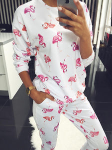 Vintage Crew Neck Two Piece Jumpsuits Suits