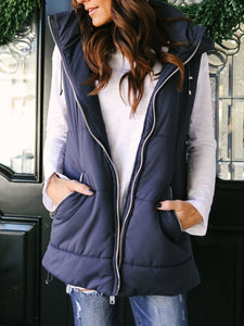 Plain Solid Stand Collar Casual Women's Warmest Vests