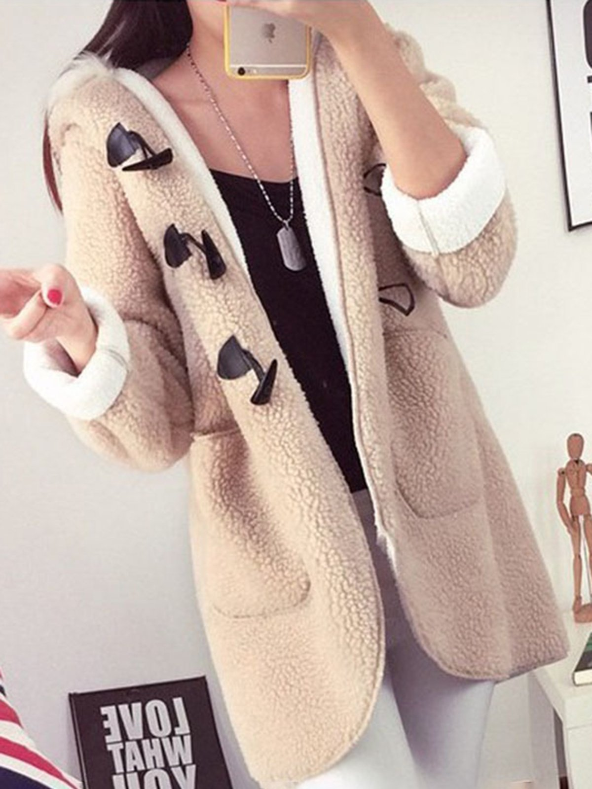 Zipper Fluffy Plain Winter Hooded Coats