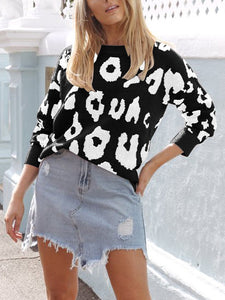 Long Sleeve Leopard Print Casual Sweater