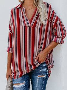 V Neck Plain Casual Stripes Blouses