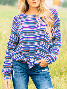 Casual Long Sleeve Striped Print T-shirt