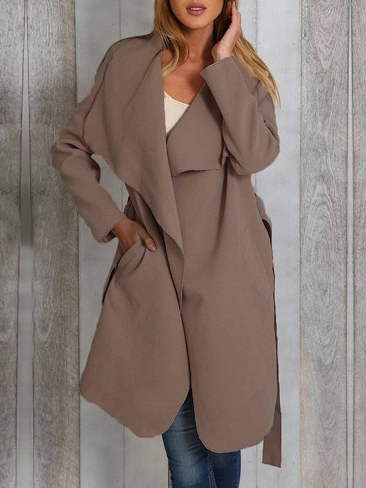 Lapel Solid Casual Coat