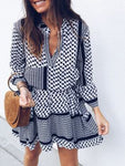 White-Black Plaid V Neck Sexy Dress