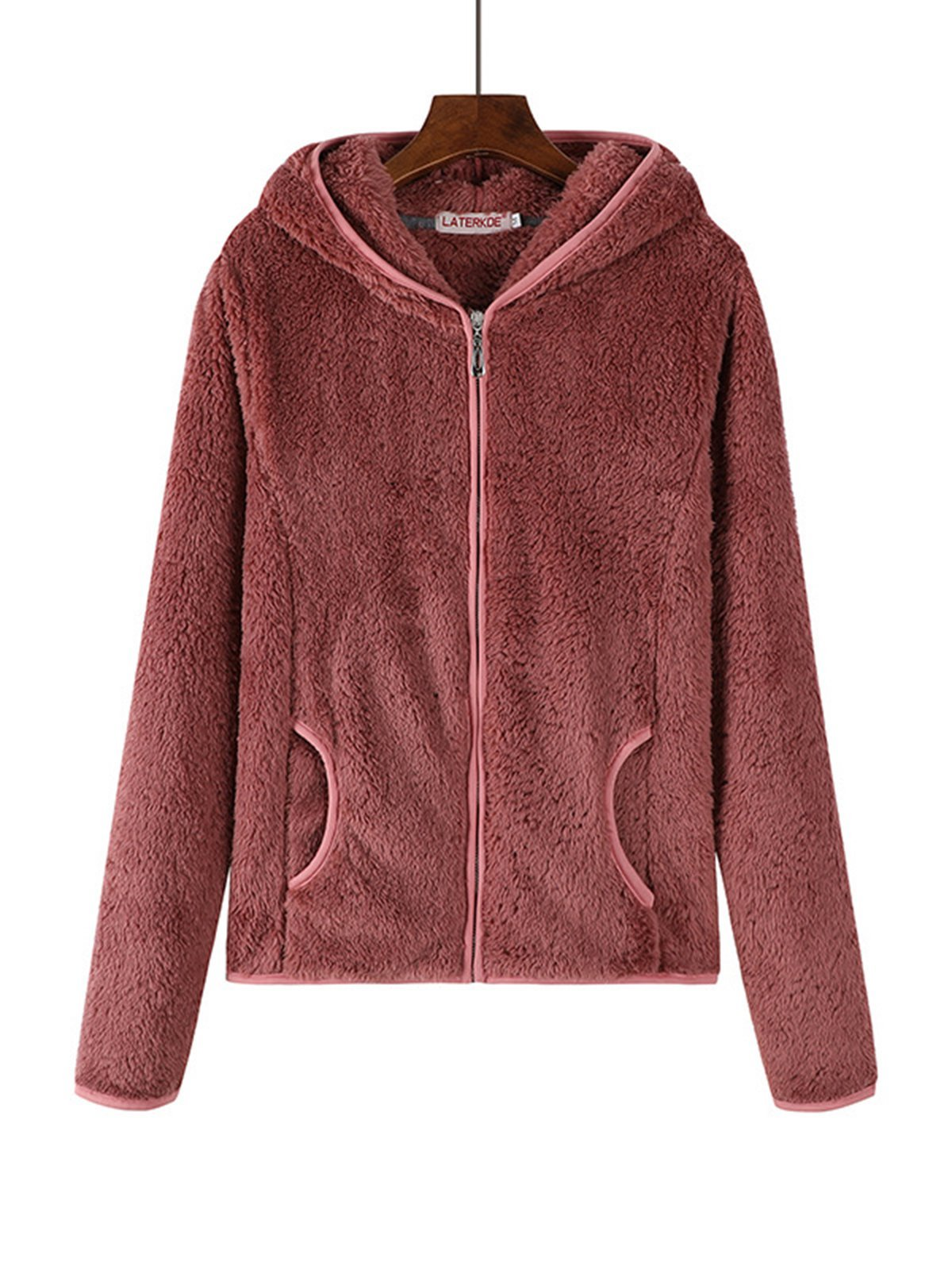 Hoodie Solid Zipper Teddy Bear Coats