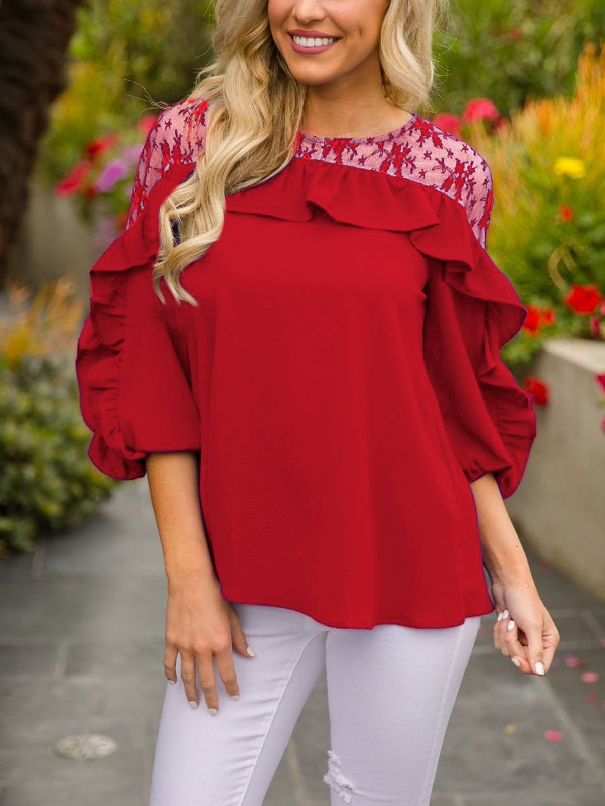 3/4 Sleeve Round Neck Floral T-Shirt