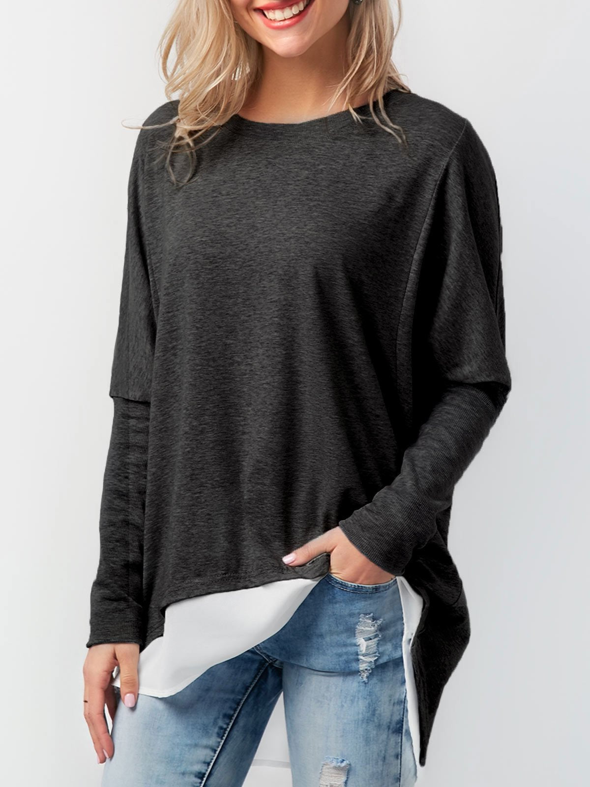 Solid Asymmetric Buttoned Basic T-Shirts