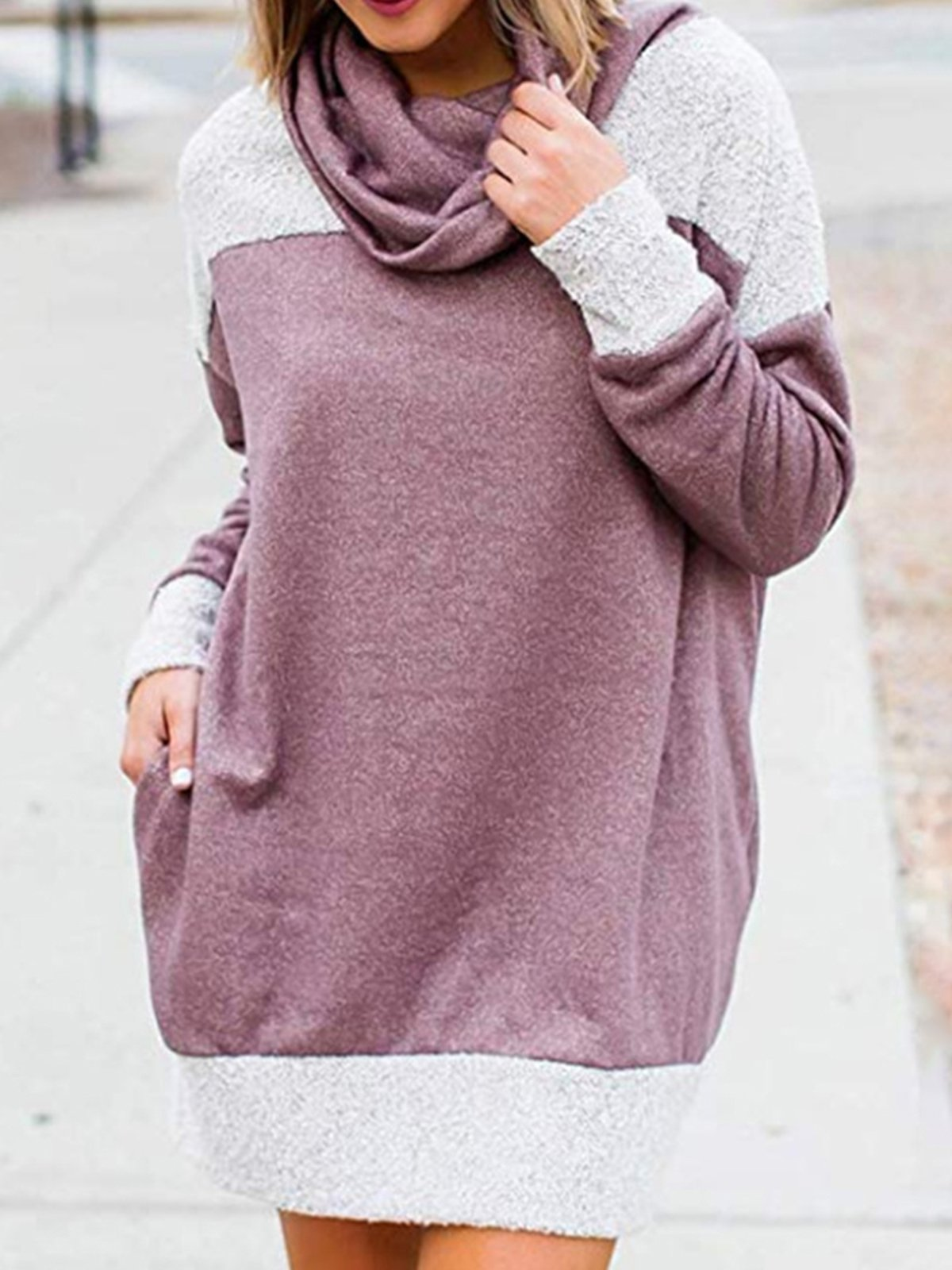 Plus Size Cowl Neck Color-Block Sweatshirts