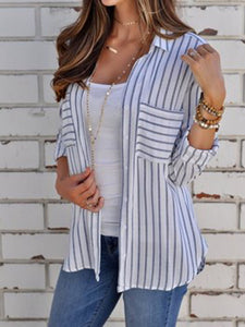 White-gray Striped Lapel Basic Shirt