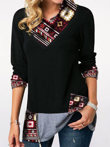 Printed Zipper Detail Long Sleeve T Shirt
