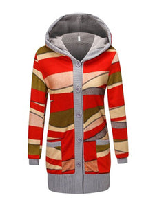 Floral Hoodie Mid Pattern Knit Outerwear