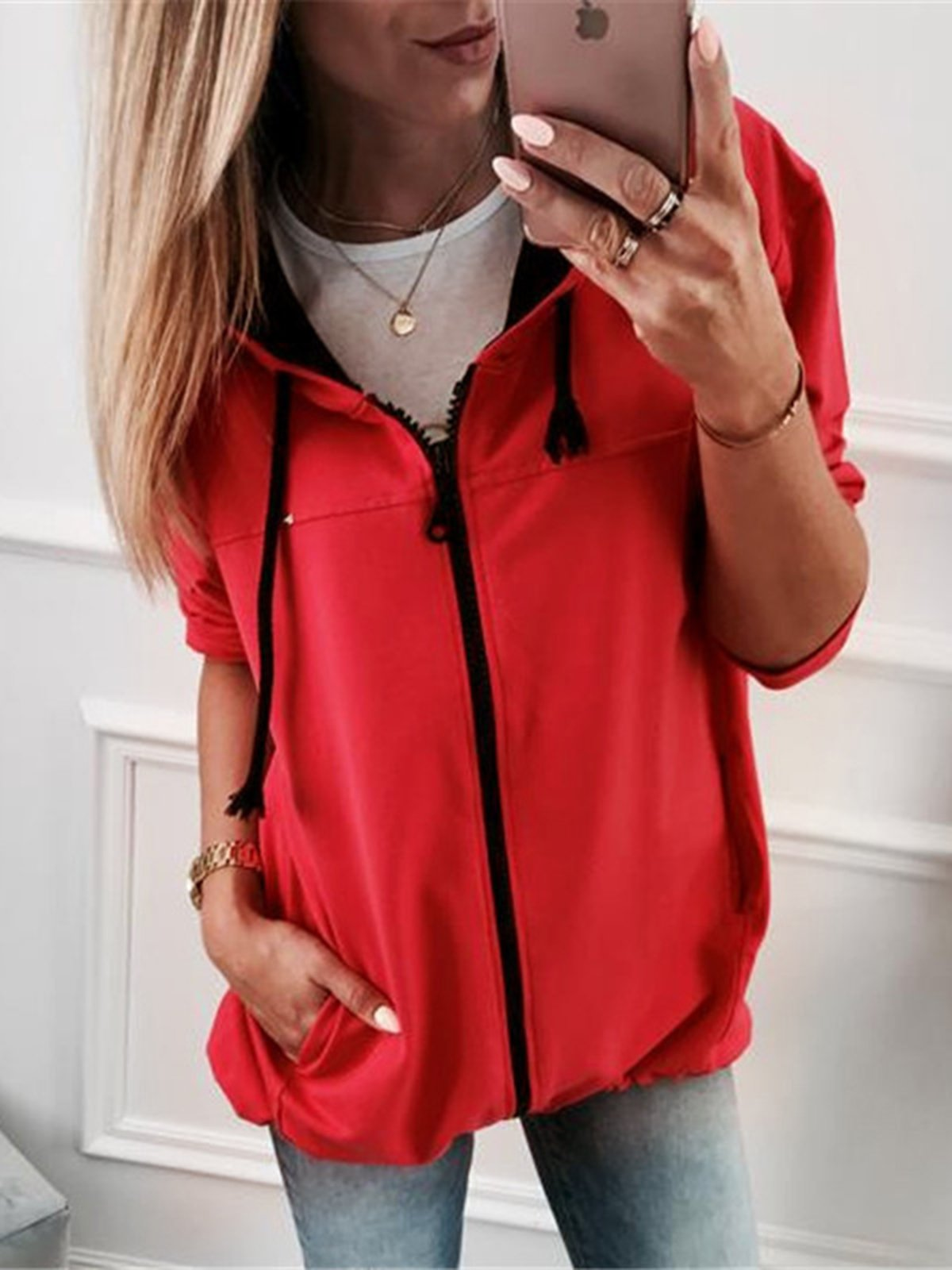 Solid Color Casual Hooded Long Sleeve Jacket