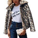 Lapel Leopard Print Sexy Warm Coat