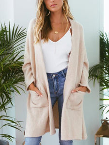 Casual Long Sleeve Round Neck Cardigan
