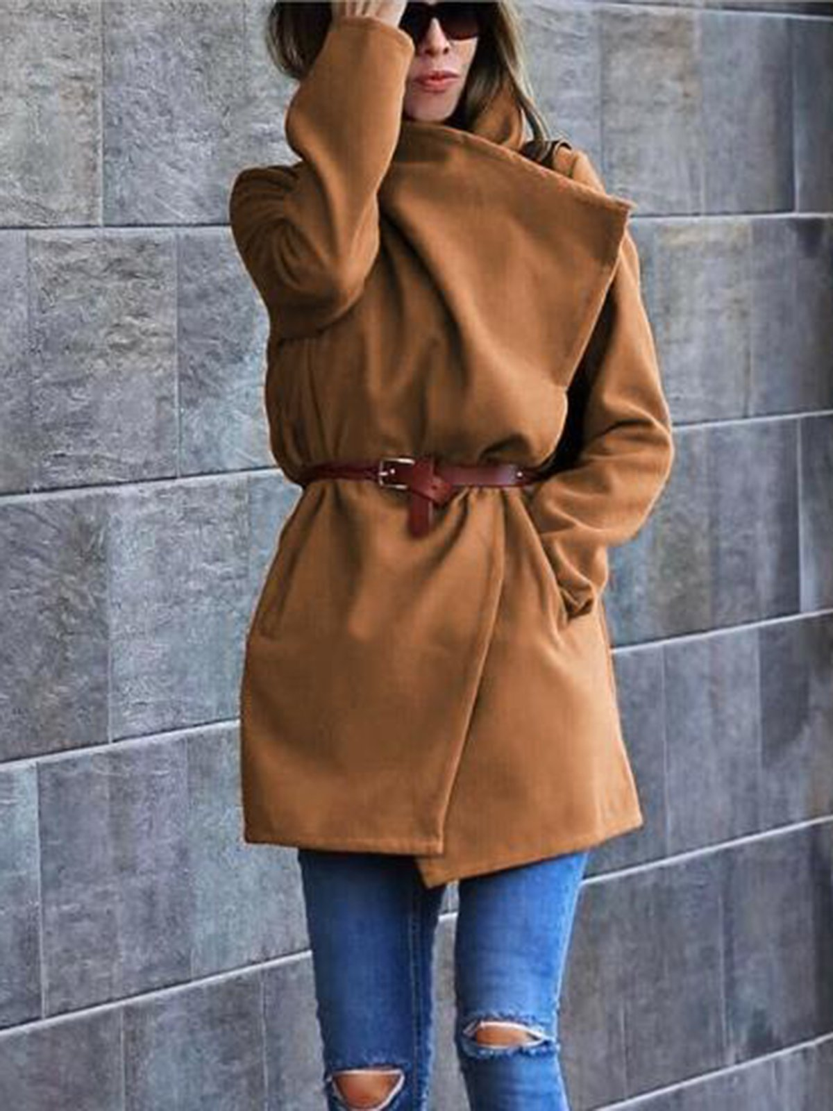 Casual Lapel Long Sleeved Coat