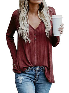 Casual Long Sleeve V-neck Blouse
